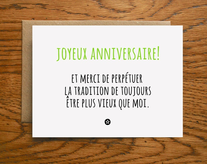 Birthday Card Thanks for Being Older Than Me in French