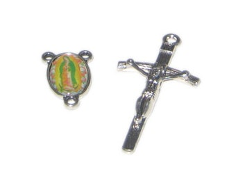 50 x 26mm Silver Metal Cross + Rosary Component Set