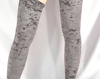 Silver grey crushed velour opaque stockings