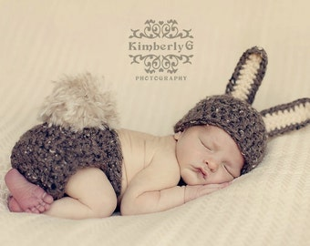 PDF Crochet Pattern -  Brown Bunny Hat - Includes 3 Sizes