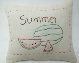 Summer Watermelon Embroidery Mini Pillow Fruit Shelf Pillow Made To Order