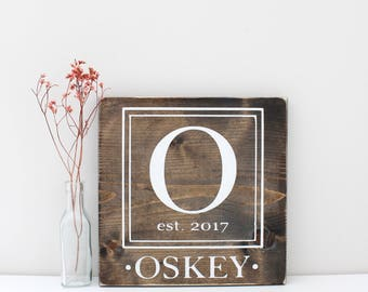 Family Name Sign, Stained Wood Sign, Established Date Sign, Rustic Wall Decor, Custom Sign, Wedding Gift, Wood Wall Decor