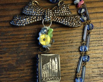 Christmas Gift Whitby Jet Book Fob Book Lover Bookworm Antique Assemblage w Cut Steel Bow & Czech Glass Beads