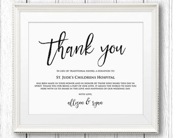 Lieu of Wedding Favors Sign, Thank You Charity Printable Sign, Donation Sign, Instant Download, Editable Text, PDF Template, Digital #SW11