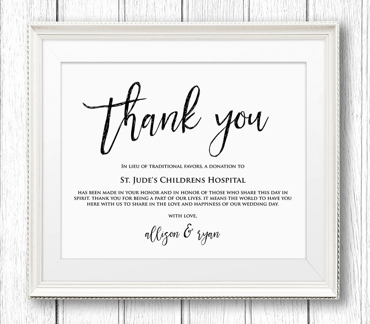 Lieu of Wedding Favors Sign Thank You Charity Printable Sign