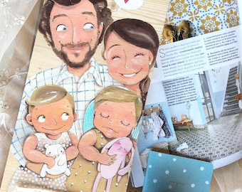 DILISA Family picture, original personalized illustration for four subject, family portrait