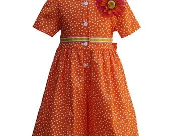 4366 Orange Small Dot Dresslotte