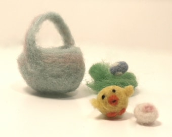 Miniature Needle Felted Easter Basket with Chick and Eggs - Pastel