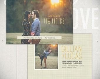 Save The Date Card Template: Adored Card D - 5x7 Engagement Card Template