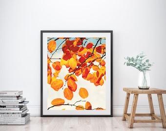 Fall Leaves Art Print, Fall Printable, Fall Print, Fall Printable Art, Fall Decor, Printable Wall Art