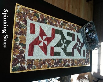 Quilt Pattern, Spinning Stars, Table Runner, Easy, Quick, Half-Square Triangles