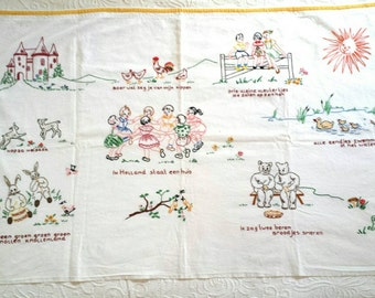 Hand Embroidered Vintage Dutch Kids Wall Hanging