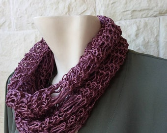 Knitted-ring knitted-scarf-silk cotton scarf-handmade scarves-women's scarves-purple scarf-gift for her