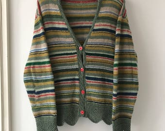 1920s hand knitted scallop stripe cardigan