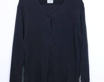 Vintage United Colors Of Benetton Women Cardigan Button Up Black colour size Medium