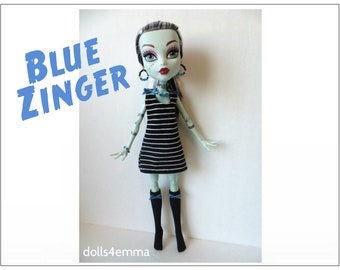 "Monster High 17"" Doll Clothes - Dress + Stockings + Jewelry - Handmade custom fashion by dolls4emma"