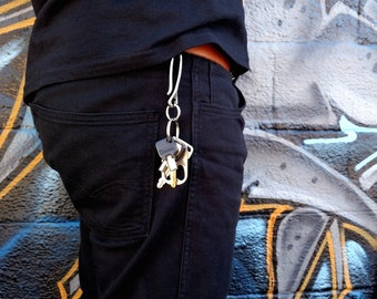 Mens Hook Key Chain / Brass or Nickel Hook / Fish Hook / Key Ring / Belt Hook / Metal Key Chain / Gold SIlver Key Chain / Mens Style Fashion