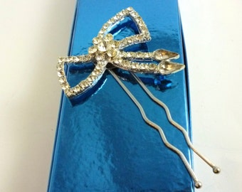 Rhinestone Hair Pin Bow Upcycled Vintage  Brooch Bride Wedding