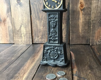 Cast Iron Grandfather Clock Bank