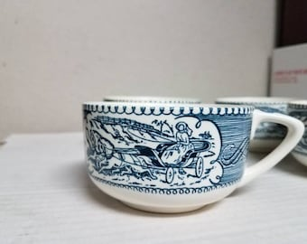 Set of 4 Currier and Ives scroll handle tea cups dinnerware by Royal China