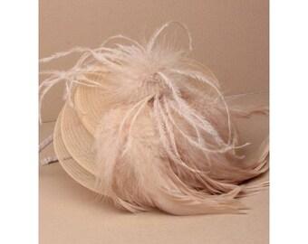 beige feather fascinator, wedding hat, race day hats, headband fascinator, church hats, cocktail hats, beige hats, ladies formal hats
