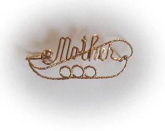 Gold Filled Elaborate Mother Brooch