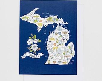 Illustrated Michigan Map - Greeting Card
