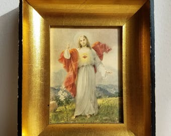 Vintage Jesus Sacred Heart With Lillies Print in Gold Black Wood Shadowbox Frame, Easter Resurrection Religious Icon Art