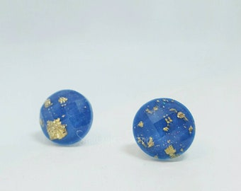 Blue Gold Leaf Round Faceted Stud Earrings Titanium Posts Sensitive Ears