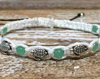 Sea Turtle Jewelry / Sea Turtle Bracelet / Healing Crystal Jewelry / Chakra Bracelet