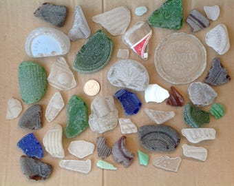 50  plus Rare Patterned sea glass Mosaics Sea glass jewellery Sea glass crafts Beach stones Jewellery supplies Bulk beach glass Sea glass