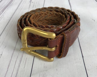 Vintage Leather Woven Belt - With Brass Buckle - Size 29/30 - Small