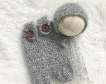 Grey  Bonnet and Matching Overalls, Photo Prop,Photography Prop,Newborn Prop,Newborn Pictures,Baby Bonnet