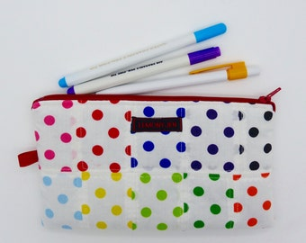 Pencil case, make-up bag, zip purse, cosmetic bag, cosmetic case, mixed spot lined zip bag, wash bag,zip pouch,toiletry bag.