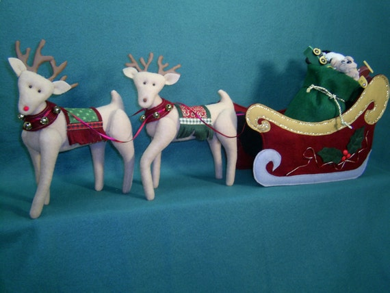 """Santa's Christmas Sleigh and Reindeer - Cloth Doll Epattern for sleigh and reindeer """"ONLY"""". (Mema and PaPa pattern sold seperately.)"""
