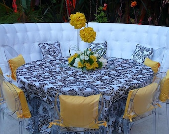 Black and White Flocking Damask Tablecloths | Wedding Tablecloth | Choose Size