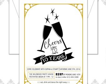 Anniversary Party Invitation, 10 Year Anniversary Invite, Cheers to ten Years, Cheers Party Invite, Modern Anniversary Invitation