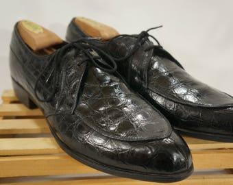 Vintage BOSTONIAN - Sz 9 - Handcrafted USA Genuine Alligator Split Toe Oxfords Black Dress Shoes Formal Exotic Leather Skin