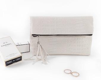 Bridal clutch bag Ivory wedding purse bag Bridesmaid clutch Leather bridal bag Ivory wedding bag Leather wedding purse Leather bridal purse