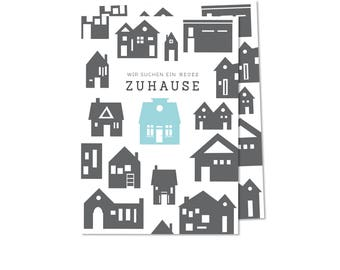 """50x Postcard """"We are looking for a New Home"""" (personalized) - House Silhouette"""