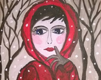 Have you seen the Wolf? Art contemporary Riding Hood red forest