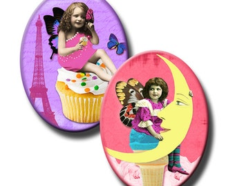 Victorian Kids on Tattered Pink and Purple - 40x30mm and 30x22mm ovals - (3) Digital sheets