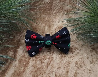 Christmas Paw Print Dog Bowtie, Holiday Pet Bowtie