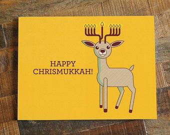 Funny hanukkah card happy challah days funny happy chrismukkah card christmas card and hanukkah card reindeer card menorah card m4hsunfo