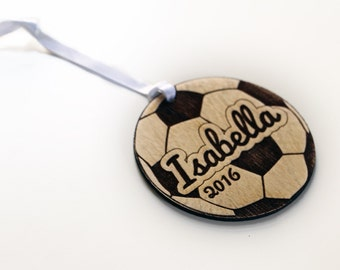 Personalized Soccer Ball Christmas Ornament - Gift for Soccer Player - Wooden Sports Christmas Ornament Personalized with Child's Name
