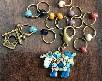 Antique Bronze Yarn Sheep Ring Stitch Marker Set, Progress Keeper, ring markers, notions, knitting, birdhouse, knitter gift, Clip on Charm