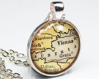 Austria Map Necklace- Vintage Vienna Map Pendant Jewelry from an Antique 1929 Atlas, Vienna Map Necklace, Austria Map Pendant Necklace