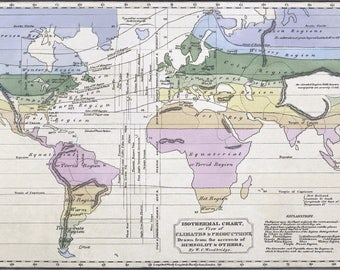 Poster, Many Sizes Available; Isothermal Climate Chart World Meteorology Map 1823