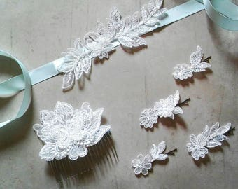 Handmade Layered Ivory Lace Bridal Sash