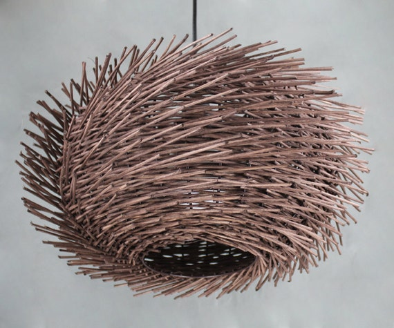 Hand woven brown rattan wavy shaped bird nest pendant like this item mozeypictures Images